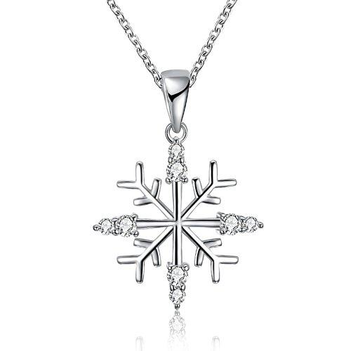 Bishilin Weihnachtsschmuck Versilbert Halskette Silber Damen Schneeflocken mit Zirkonia Anhänger Kette Silber für Frauen