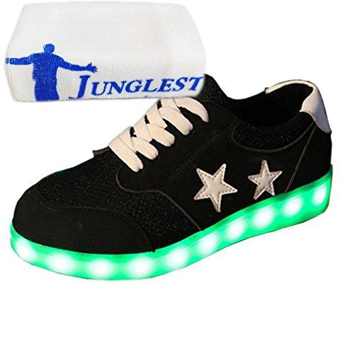 [Present:kleines Handtuch]JUNGLEST® Schwarz 7 Farbe Unisex LED-Beleuchtung Blink USB-Lade Turnschuh-Schuhe c32