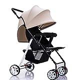 baby stroller 3.8KG Ultraleichter Tragbarer Kinderwagen Kann Das Sitzen Liegen, Das Gefaltetes Stoßtrolley-Babyauto Gefaltet Wird,Khaki