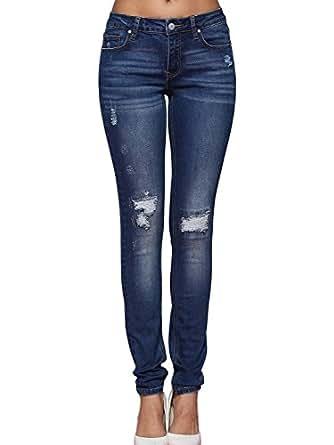Alice & Elmer Jeans Stretch Vita Normale Slim Skinny Strappati,Jeans Donna,Blu 26
