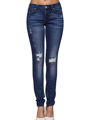 Alice & Elmer Blue Ripped Mid-Rise Skinny Jeans-Vaqueros para mujer 29