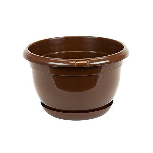Pot de fleur plastique Malta 21 cm brun avec twist soucoupe