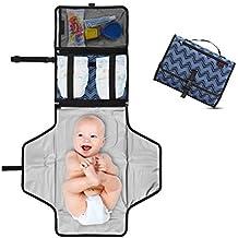 Cambiador Portátil de Pañales para Bebé - Kit Cambiador de Viaje - Completamente Acolchado - Esterilla Lavable de Quita y Pon - Para Usar Fuera de Casa - Perfecto como Regalo ! - Dark Blue