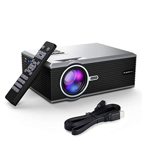 FLOUREON 1200 Lumen Mini Beamer, 1080P Full HD Heimkino Videoprojektor, 30,000 Stunden, Kleiner LCD Projektor Verbindung mit VGA, USB, HDMI, SD, AV, Unterstützung Telefon DVD TV Stick, Schwarz, Silber