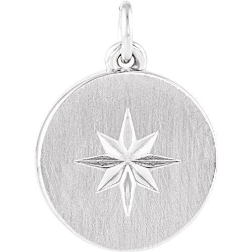 585) Weißgold poliert Stern Scheibe ()