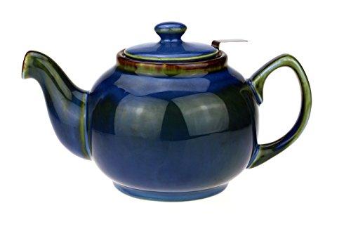 """Teekanne / Teapot Klassisch Englische Form aus Keramik mit nicht-tropfendem Ausguss """"Cambridge"""" 1,0L mit Teefilter aus Edelstahl (Blau/Grün/Türkis-schattiert)"""