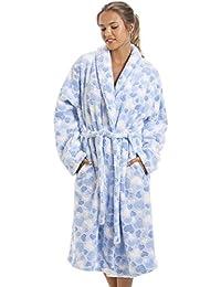 Camille - Robe de chambre pour femme - polaire douce - motif coeurs - bleu clair