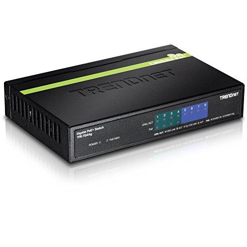 TRENDnet 8-Port Gigabit GREENnet PoE+ Switch, 4 x Gigabit PoE/PoE+ Ports (Bis zu 30 Watt/Port), 4 x Gigabit Ports, 68 Watt PoE Gesamtleistung, 16 Gbps Schaltkapazität, TPE-TG44G