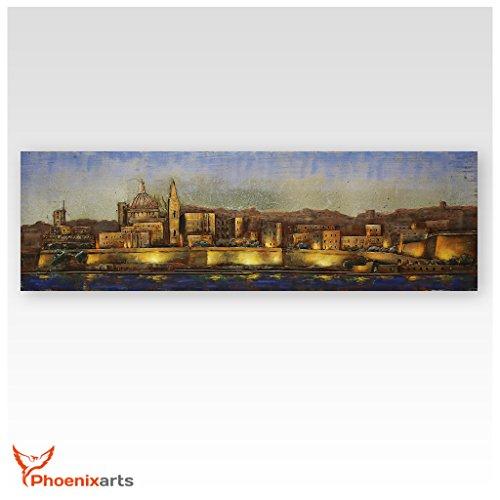 Phoenixarts Metallbild 3D Malta Valletta - Metall Bild Kirche Altstadt - 180x50cm - Wandrelief...