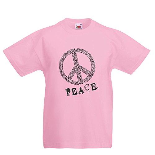 lepni.me Kinder Jungen/Mädchen T-Shirt FRIEDENSsymbol - 1960er Jahre 1970er Jahre Hippie Hippie, Street-Kleidung, Friedenszeichen, Sommer Festival Hipster Swag (12-13 years Pink Mehrfarben)