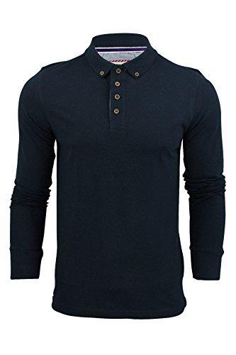 Polo Da Uomo T-Camicia by Brave Soul 'Lincoln' Piqué Maniche Lunghe (Vintage Blu) XL