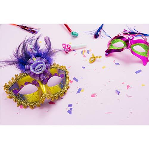 OERJU 1,5x1m Karneval Maske Hintergrund Goldene Musterkante Maske Feder Lila Maske Hintergrund Karnevalsparty Kinder Erwachsene Wand Dekoration Banner Porträts Fotografie