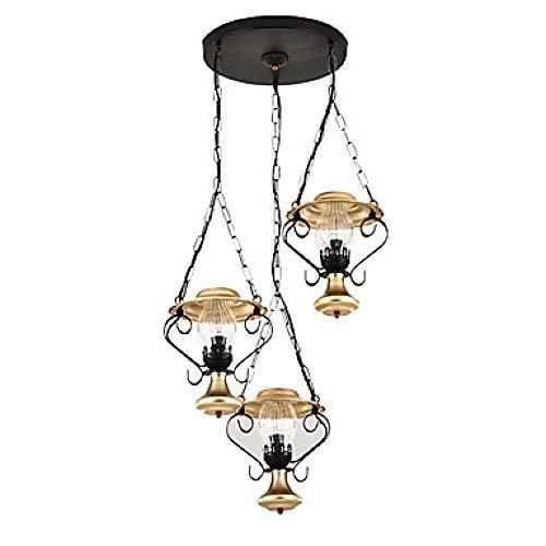 Kronleuchter Glasschirm Rustikal 3 Lichter Deckenleuchten Foyer Flur Pendnat Leuchte Downlight Lackiert Metall @110-120V - Lackiert, Glasschirm