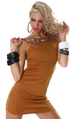 Graffith Damen Minikleid einfarbig mit eleganter Paillettenverzierung Camel