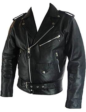 UNICORN Hombres Genuino real cuero chaqueta Estilo clásico Biker Brando Negro #B2 Tamaño