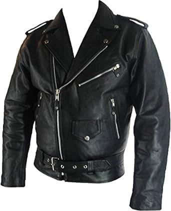 Mens classic Brando Biker style Real Leather Jacket #B2 (S)