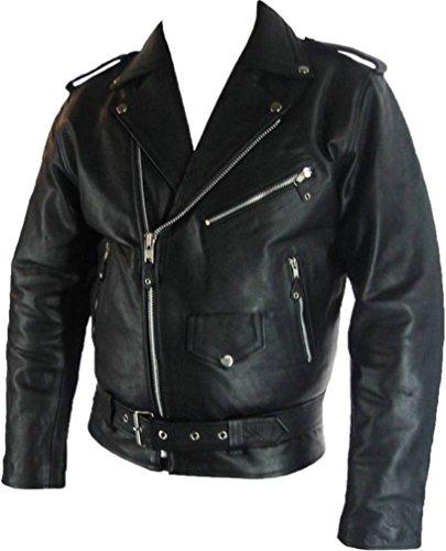92d9b9b5980 UNICORN Hombres Genuino real cuero chaqueta Estilo clásico Biker Brando  Negro #B2 Tamaño (7XL