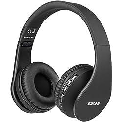 JIUHUFH Casque Bluetooth sans Fil Pliable avec Micro Intégré/Micro SD/TF/FM Radio/Lecteur MP3/Audio 3,5 mm pour iPhone Android Téléphones/Tablettes/TV/PC/Mac (Noir)