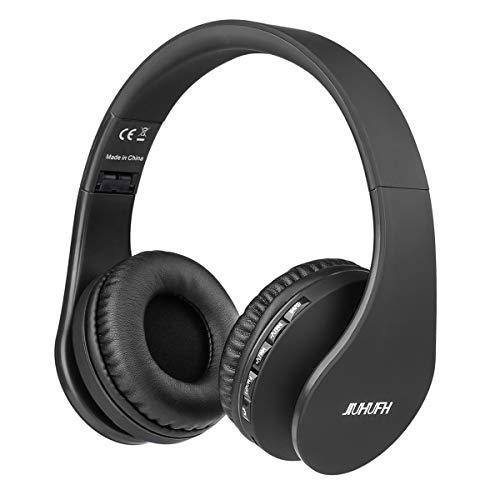 JIUHUFH Premium Bluetooth Kopfhörer Multifunktion Faltbar mit Eingebautem Mikrofon/MP3-Player/Support-Freisprech Anrufe/3.5mm Verdrahtete Audio-in für Handy/TV/PC/Mac - Schwarz