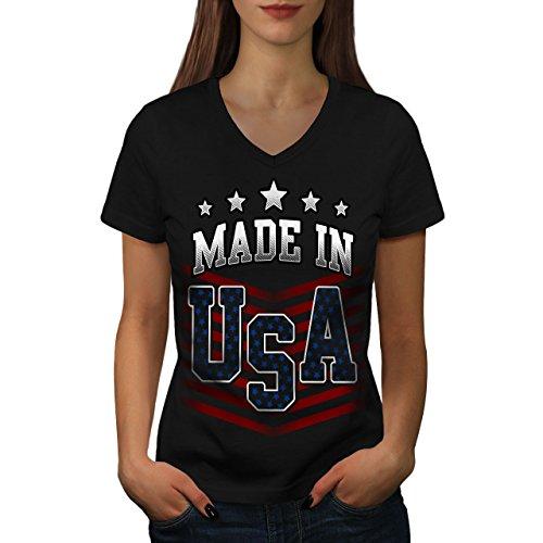 Gemacht Im Usa-t-shirt (wellcoda Gemacht IM USA Frau M V-Ausschnitt T-Shirt)