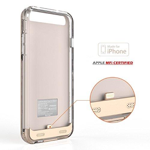 [Apple MFi Zertifiziert] MoKo 4000mAh Power Bank Akku Hülle Aufladbare Externe Batterie Ladehülle Backup Smart Battery Case Cover für Smartphone Apple iPhone 6s Plus / 6 Plus 5.5 Zoll, Golden Gold
