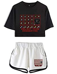 Memoryee Stranger Things imprimiendo Camisetas y Shorts Tops de Ropa Traje de Dos Piezas para niñas y Mujeres Ropa Deportiva de Verano