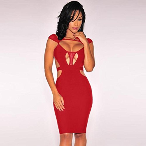 Fami Sexy Women Bandage Sleeveless Evening Cocktail Party Dresses Rouge