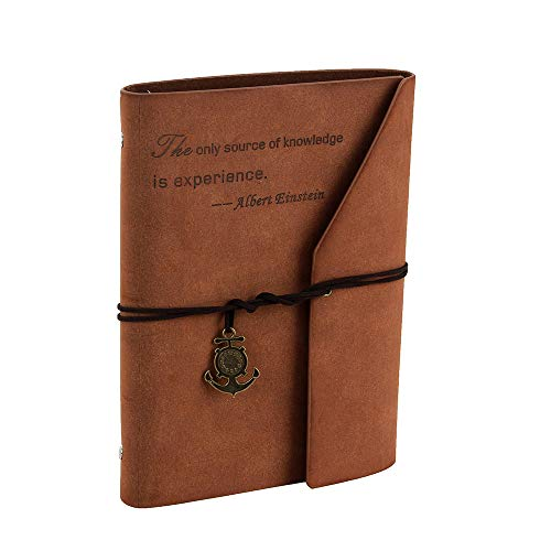 YHH A5 Diario de Viaje Cuero Vintage, Libreta Bonitas Bullet Journal Puntos Recargable, Cuaderno de Notas Anillas Antiguo/Retro Dot/Dotted Notebook Regalo Navidad para Mujer Hombre Niños,Citar Marrón