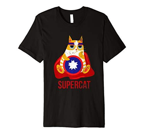 Lustige Katze T-Shirt Tier Superheld Comic Kinder Geschenk