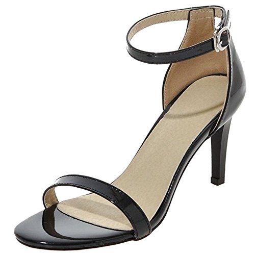 COOLCEPT Femmes Mode Strappy Chaussures Orteil ouvert Sangle de cheville Talon Aiguille Sandales noir#1
