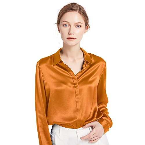 b1a61802e48d1f LILYSILK Women's Charmeuse Silk Blouse Long Sleeve Ladies Top Shirt 100%  Pure 22 Momme Silk Caramel Size 10/S - Buy Online in Oman.