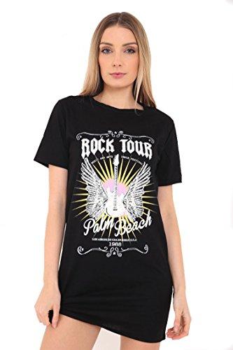 Ladies Great Fit Bedrucktes Longline T-Shirt Kleid in EUR Größen S / M-M / L Schwarz und Grau von Star Trendz (S/M (EUR 36-38), SCHWARZ / MILKY WEISS) (Neck Baumwolle Jewel T-shirt)