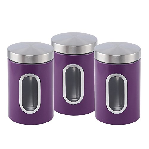 ASAB 3Kanister Set Edelstahl Tee Zucker Coffee Jar Deckel Aufbewahrungsdose mit klaren Sichtfenster-Moderne Küche Decor Zubehör violett (Kanister-sets-lila Küche)