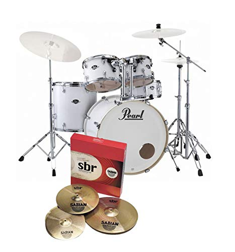 Pearl Export EXX725S LA Rock Fusion Drum Kit Arctic White With Sabian Cymbals