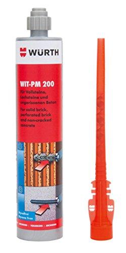 Würth Injektionsmörtel Basic WIT-PM 200 Kartusche 330ml inkl. Mischer, Verbundmörtel für Vollsteine, Lochsteine und Beton
