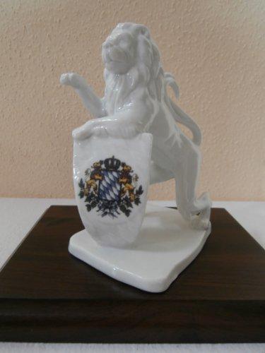 Bayerischer Löwe aus Porzellan 15,5 cm mit Wappen Bayern (gebrannt) -