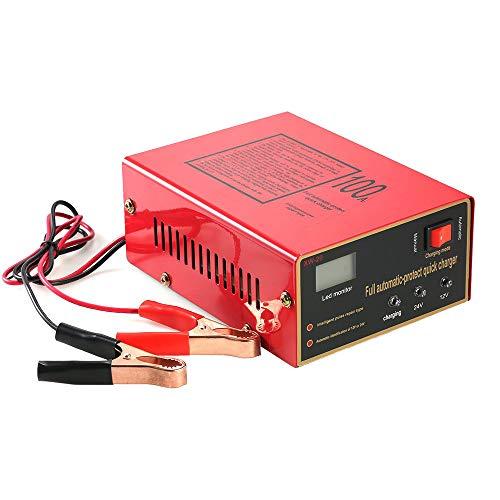 Charger-EJOYDUTY 12 V 24 V Vollautomatisches intelligentes Autobatterieladegerät, 100AH   10A Impulsreparatur, für Auto, Boot, Rasenmäher, Wohnmobil, Blei-Säure-Batterie