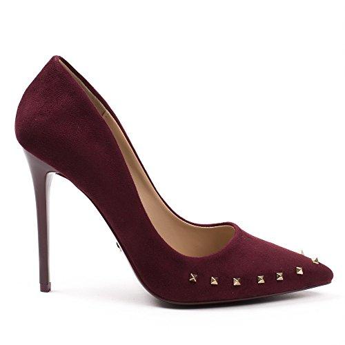 Ideal Shoes - Escarpins effet daim avec clous Milena Bordeaux