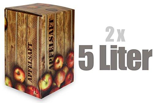 Apfelsaft naturtrüb | 100% Direktsaft ohne Konservierungs- und Aromastoffe | 2er Pack (2 x 5 Liter, Bag in Box mit Zapfhahn) (Apfelsaft-kartons)