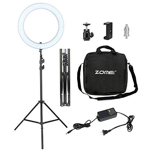 Luce-LED-ad-Anello-con-Supporto-Zomei-Luce-ad-Anello-da-18-pollici-per-Macchina-Fotografica-Smartphone-Riprese-Video-per-Youtube-e-Makeup-Luce-da-Studio-Dimmerabile-da-2700-5500K-con-Supporto-per-Tele