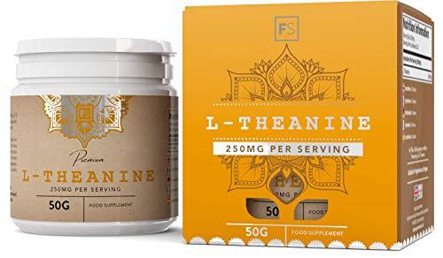 FS reines L-Theanin-Pulver [50 g], beruhigt auf natürliche Weise, ohne Zusatzstoffe, vegan | Nootropikum zur Konzentrationsförderung, bringt das Gehirn auf Touren - Ohne GVO, Gluten & Milch -