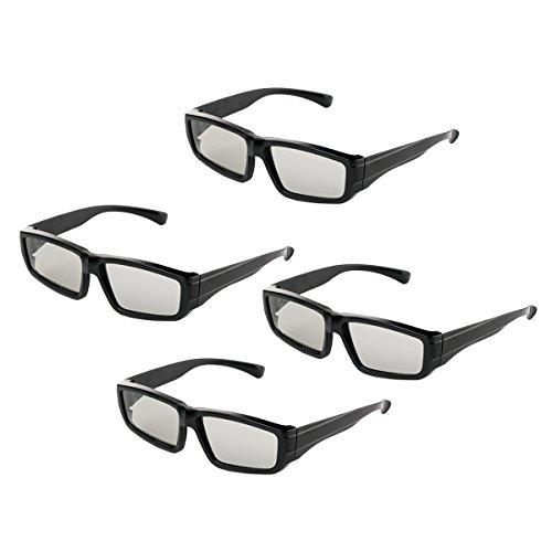 Occhiali 3D passivi per famiglie tutte le età Sony//Sharp/Toshiba/Samsung TV passive, cinema e proiettori lenti polarizzate circolari - 4 paia