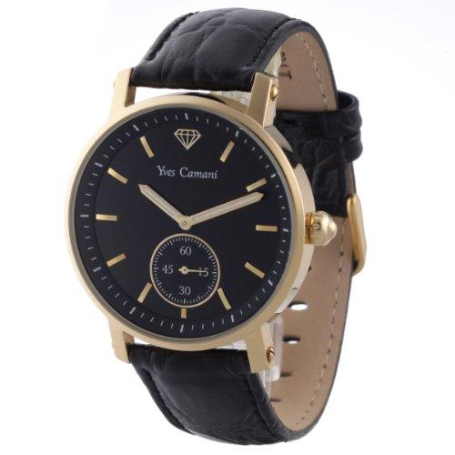Yves Camani Antico - YC1003-I - Montre Homme - Quartz Analogique - Cadran Noir - Bracelet Cuir Noir