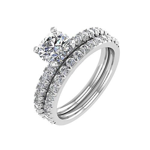 Diamond  -  Gold 14 Karat (585)  14kt Weiß-Gold Rundschliff   Feines Weiß/Top Wesselton (G) - Weiß/Wesselton (H) Diamant  (Diamond 4-karat-ehering-sets)