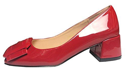 Talon Classique Aisun Carrée Femme Rouge Escarpins Chunky Tire qIIwz5r