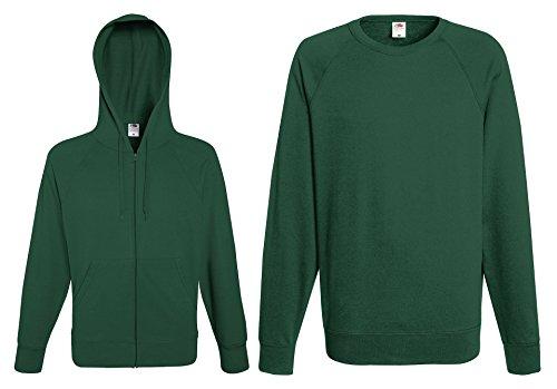 2er Set Damen Sweatshirt Kapuzen Pullover Hoodie Hoody mit Reißverschluss (S, Flaschengrün)