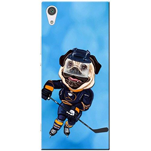 Eishockey-bilderrahmen (Eishockey Mops mit Schlittschuhen & Schläger Hartschalenhülle Telefonhülle zum Aufstecken für Sony Xperia XA1)