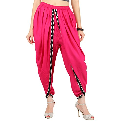 Pink Color Rayon Dhoti Pant, Patiala Dhoti Salwar for Women, Girls from Khazana Basics (JTDH45_L,Pink)