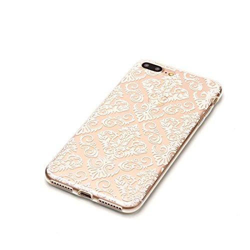 iPhone 7 Plus Custodia, Fiore Nero Cartoon Case Pittura Pattern Morbido TPU Cover Silicone Gomma Gel Crystal Transparent Clear Ultra sottile iPhone 7 Plus copertura, Graffi Prova # # 12