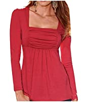 Tootlessly Women's Loose Fit Side Shirring Solid-Colored Tops Blouses Red XS
